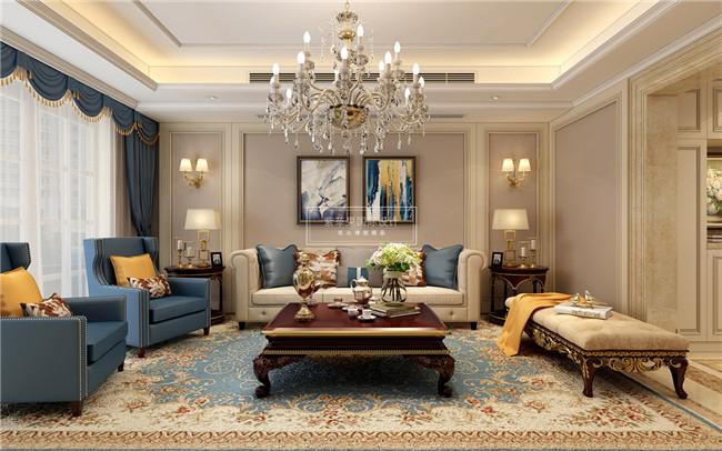 60万   装修风格:欧美风格   装饰公司:紫苹果国际装饰   客厅在银色