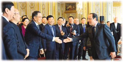 奥朗德会见中国企业家