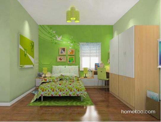 整个儿童房空间的设计较为简约,两款绿色盆栽的出现,为整个空间增添